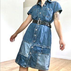 vintage 90s button down denim dress